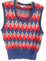 Vintage Ohrbach's Men's Shop Unisex Red Blue Gray Argyle  Vest Large 42 chest