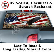 Camo & American Flag with Eagle Window Graphic Perforated Film Decal Truck SUV