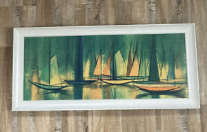 Mid-Century Modern Art Boats In Blues And Greens By William Rutledge 5015