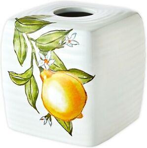 Citrus Grove Ceramic Tissue Box Cover ~ LEMON ~ New