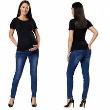 Zeta Ville Damen Mutterschaft Jeans elastisch overbump Panel gerader Schnitt 2000