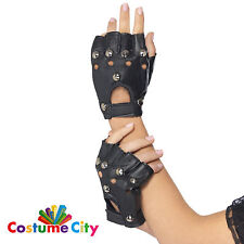 Black Studded Fingerless Gloves Punk Biker 80s 1980s Fancy Dress Accessory