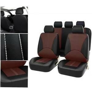 PU Leather Car Seat Covers Full Interior Set Red Universal Fit Cushion Protector