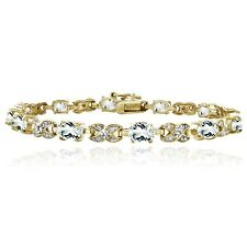 Gold Tone 7.15ct White Topaz & Diamond Accent X & Oval Bracelet, 7.25""