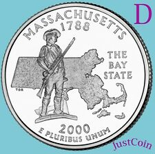 2000 D MASSACHUSETTS MA STATE QUARTER UNCIRCULATED FROM MINT ROLL