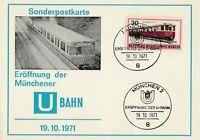Sonderpostkarte Eröffnung der Münchener U-Bahn 19.10.1971 mit Sonderstempel