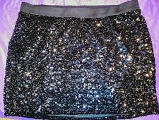 Torrid Sz 4 4x 26 Black Sequin Sparkly Party Skirt Sexy Stretchy Elastic Waist