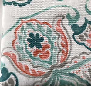 """Cynthia Rowley Teal/Coral Tapestry Medallion  Shower Curtain 72""""x72"""" NEW!"""