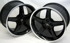 "17"" Black Mustang Cobra R ® Style Wheels Staggered 17x9 17x10.5 Inch 5x114.3"