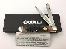 Boker Tree Brand Trapper Knife Jigged BROWN BONE 2 Blades GERMANY NQ-724