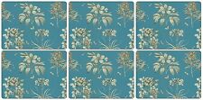 Pimpernel Etchings and Roses Placemats Wood Blue Small Set of 6