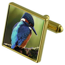 Kingfisher Gold-Tone Cufflinks Crystal Tie Clip Gift Set