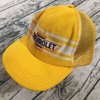 Chevy Mens Trucker Baseball Cap Adjustable Snapback Yellow 80s Mesh Hat Retro