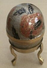 Brass Cloisenne Enameled 2 Pc Egg -to Hide Valuables?- with Brass Display Stand