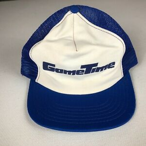Game Time Snapback Hat VTG Trucker Mens Adult Blue White USA Made Cap One Size