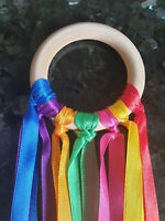 Sensory Ribbon Rainbow Natural 7cm Beech Wood Ring SEN Ring Baby Girl/Boy🌈