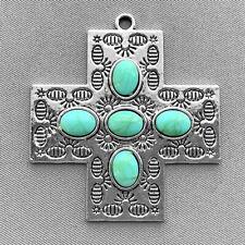 Antique Silver Plated 47x43mm Imitation Turquoise Southwestern Cross Pendants Q2