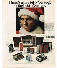 1970 RCA Cassette Recorder Phonograph Clock Radio SCROOGE SANTA VTG PRINT AD