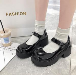 Womens Gothic Punk Heels Platform Chunky Round Toe Buckle Mary Jane Shoes Lolita