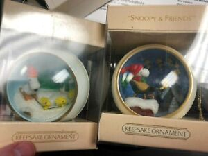 1981 & 1982  HALLMARK Panorama Balls  SNOOPY and FRIENDS Christmas Ornaments