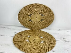 Set Of 2 Woven Wicker Natural Rattan Placemats Coasters Table Mat Exc Con