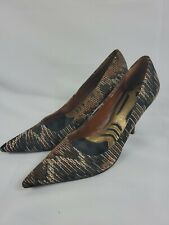 Nine West Faina Size 8 Heels Pumps Shoes Textile Womens Pointy Toes Black Brown