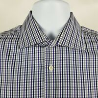IKE BEHAR NYC Men/'s Cotton Overcheck White Multi Check Dress Shirt