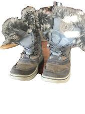 Santana Canada Snow Rain Waterproof Boots Faux Fur Lace Up Side Zipper 37