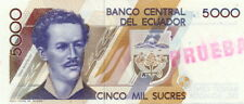 """Ecuador P-126 5000 sucres specimen stamp """"prueba"""""""