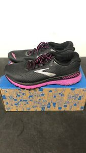 Brooks Womens Adrenaline GTS 20 Running Shoe Size 7 Wide/D (Blk & Purple) USED