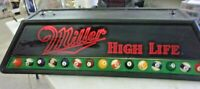 "Vintage 1991 MILLER HIGH LIFE Pool Table Billiards Table Light 48"" x 21"" x 11"""