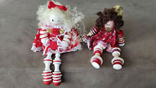 Two Decorative Valentines Crafts Dolls. Legs made of bottons on a string.