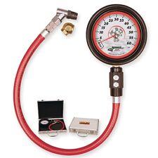 "LONGACRE MAGNUM AIR PRESSURE TIRE GAUGE 0-60 PSI 52-52000 W/CASE 4""WHT-FACE"