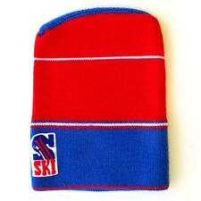 Authentique vintage Bonnet de ski Taille enfant - Made in France - Bleu Rouge