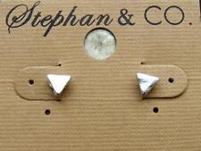 "$8 Stephan & Co Silvertone Tiny Triangle Earrings 3/8"" Diameter Metal Post Stud"