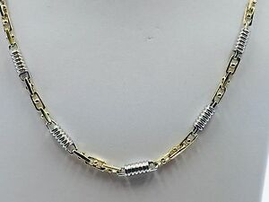 """10k Solid Two Tone Gold Mens Handmade Fashion Chain Necklace 26"""" 5 MM. 50 Grams"""
