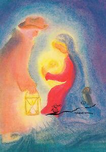 Kunstkarte: Dorothea Schmidt - Maria u. Joseph bei der Krippe