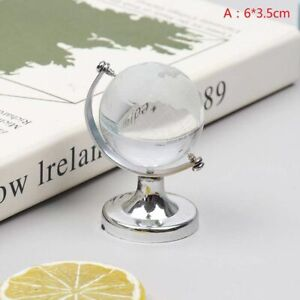 Round Earth Globe Glass Sphere Silver Crafts Art Crystal World Map Table Decor.