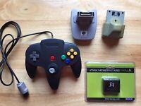 Nintendo 64 (Third Party) Controller + Rumble/Memory/Transfer Pak BUNDLE (N64)