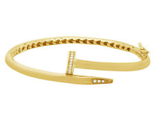 Unisex Yellow Gold Finish Sterling Silver Lab Diamond Nail Bangle Bracelet 4MM