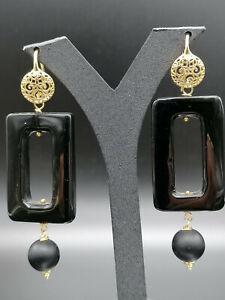 orecchini da donna pendenti in onice nero e argento FATTO IN ITALIA gioiello