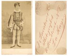 De Lavieter, La Haye Un acteur prend la pose  CDV vintage albumen carte de visit