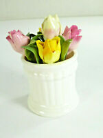 Crown Staffordshire Bone China Tulip Flower Bouquet May 1974 Handpainted Vtg
