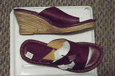 womens born drilles brown leather side flower straw wedge sandals shoes size 11