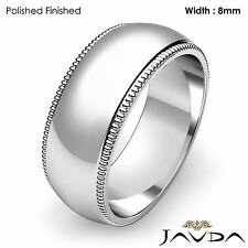8mm Men Wedding Band Dome Milgrain Edge Solid Classic Ring Platinum 16.6g 9-9.75