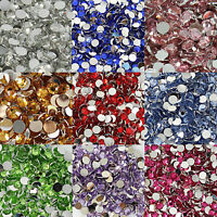1000 - 10000pcs 3, 4, 5, 6mm 14 Facets Flat back Acrylic Rhinestone Gems Crystal