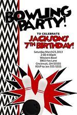 Bowling Custom Designed Birthday Party Invitation Bowling Ball Pin Add Photo