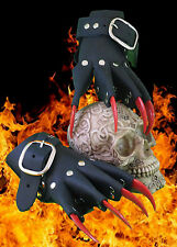 Black Leather Red Claw Gauntlets Gothic Gloves