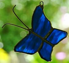 AZURE BLUE BUTTERFLY stained glass suncatcher HAND CRAFTED LEADLIGHT GIFTS