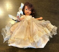 Antique Nancy Ann Story Book Doll Frozen Leg Hair Bow Net Dress w/Orig Stand!